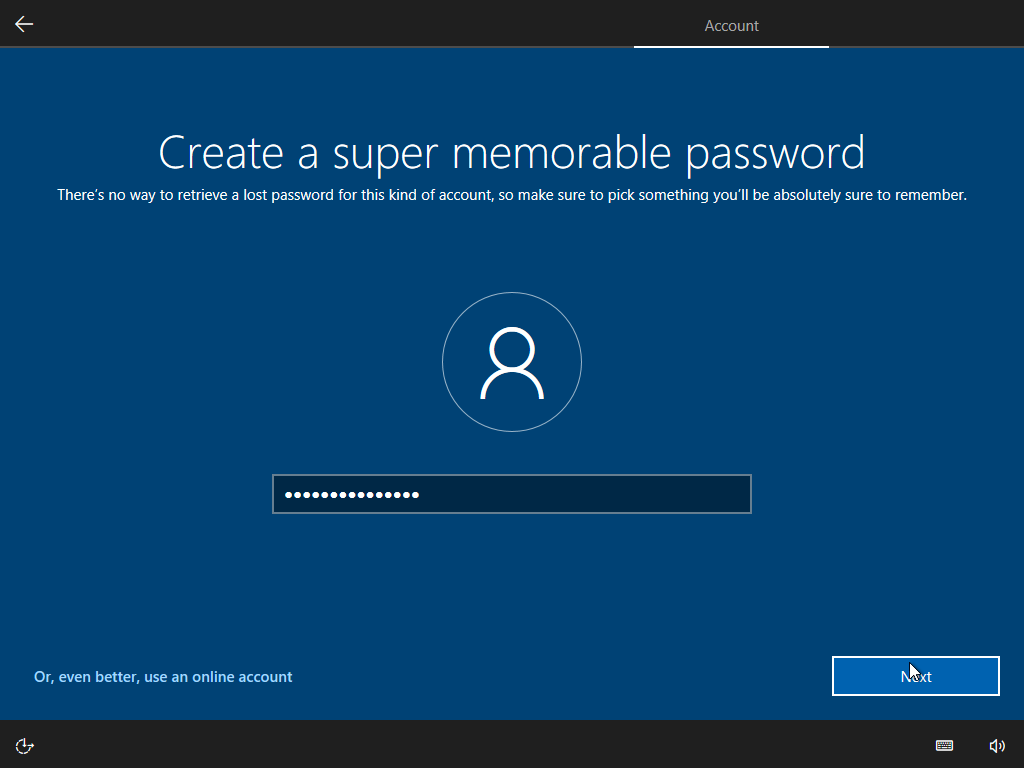 Password prompt during Windows 10 setup with artificial and not obvious 15 character length limit.